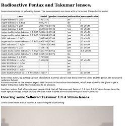Radioactive Pentax Takumar lenses.