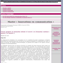 Innovations en communication Internet, Intranet, sites web 2.0, radiocommunications, multimédia