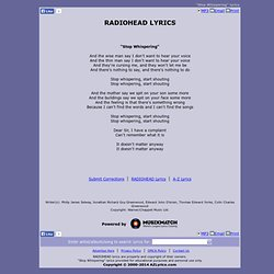 RADIOHEAD LYRICS - Stop Whispering
