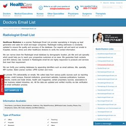 Radiologist Email List, Radiologists Mailing Addresses Database