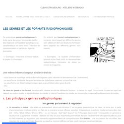 Les genres et formats radiophoniques - Clemi Strasbourg - Ateliers webradio