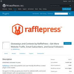 Giveaways and Contests by RafflePress – Get More Website Traffic, Email Subscribers, and Social Followers – WordPress plugin