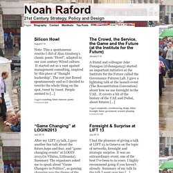 Noah Raford » 21st Century Strategy, Policy and Design