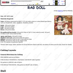 Raggedy Ann Type Rag Doll Pattern