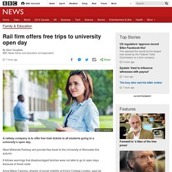 Rail firm offers free trips to university open day