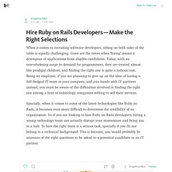 Hire Ruby on Rails Developers – Make the Right Selections
