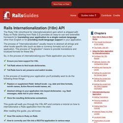 Rails Internationalization (I18n) API