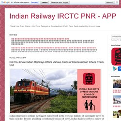 Indian Railway IRCTC PNR - APP: Did You Know Indian Railways Offers Various Kinds of Concessions? Check Them Out