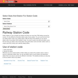 Railway Station Codes - Indian Railway Station code - IRCTC code