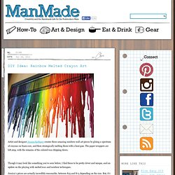 DIY Idea: Rainbow Melted Crayon Art » Man Made DIY | Crafts for Men « Keywords: diy, crayon, how-to, color