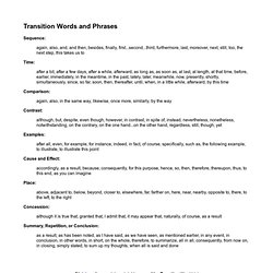 4th Grade Rainbow Rockets - Transition Words and Phrases