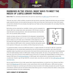 Rainbows in the Stacks: Many Ways to Meet the Needs of LGBTQ Library Patrons — Articles
