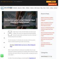 Donate Raincoats To Poor Children