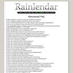 Rainlendar - Rainlendar2 FAQ