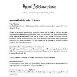 Amazon Kindle in India | A Review | Anand Sathyanarayanan's Blog