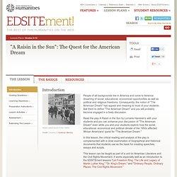 """""""A Raisin in the Sun"""": The Quest for the American Dream"""
