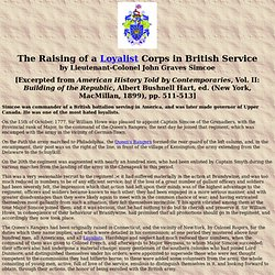 The Raising of a Loyalist Corps in British Service