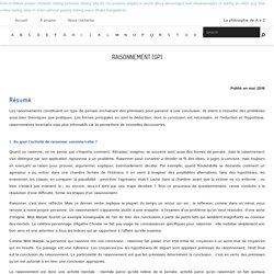 Raisonnement (GP) – L'Encyclopédie Philosophique
