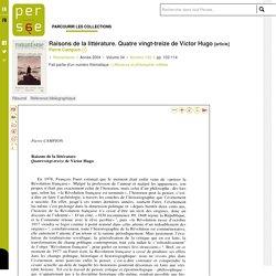Raisons de la littérature. Quatre vingt-treize de Victor Hugo