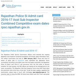 Rajasthan Police SI Admit card 2016-17 Asst Sub Inspector hall ticket