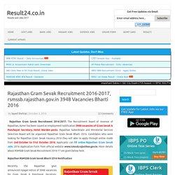 Rajasthan Gram Sevak Recruitment 2016, 3948 Post Apply Online