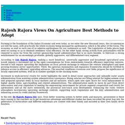 Rajesh Rajora Views On Agriculture Best Methods to Adopt