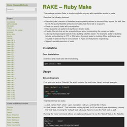 Rake -- Ruby Make