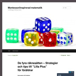 """De fyra räknesätten – Strategier och tips till """"Lilla Plus"""" för föräldrar"""