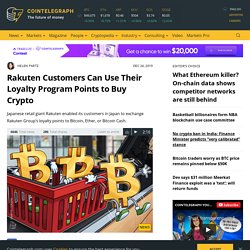Rakuten Customers Can Use Their Loyalty Program Points to Buy Crypto