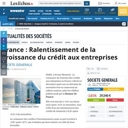 France : Ralentissement de la croissance du crédit aux entreprises, Actualité des sociétés