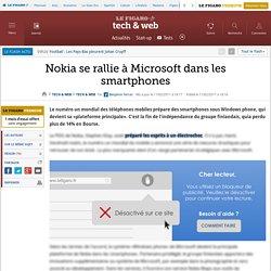 Nokia se rallie à Microsoft dans les smartphones