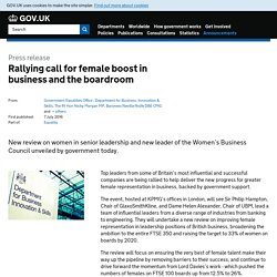 Rallying call for female boost in business and the boardroom