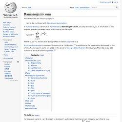 Ramanujan's sum