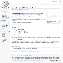Ramanujan–Soldner constant