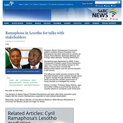 Ramaphosa in Lesotho for talks with stakeholders :Tuesday 30 June 2015