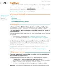 RAMEAU : Documents pédagogiques