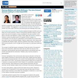 Rammya Mathew and James McGowan: The role of shared decision making in a value based NHS