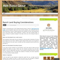 Ranch Land Buying Considerations