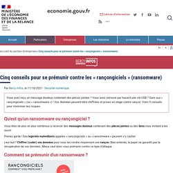 Cinq conseils pour se prémunir contre les « rançongiciels » (ransomware)