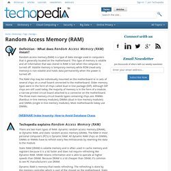 What is Random Access Memory (RAM)? - Definition from Techopedia