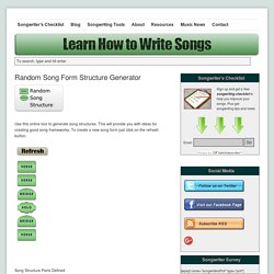Random Song Form Structure Generator | Learn How to Write Songs
