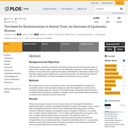 PLOS 06/06/14 The Need for Randomization in Animal Trials: An Overview of Systematic Reviews