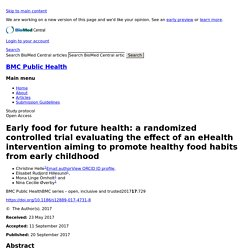 Early food for future health: a randomized controlled trial evaluating the effect of an eHealth intervention aiming to promote healthy food habits from early childhood