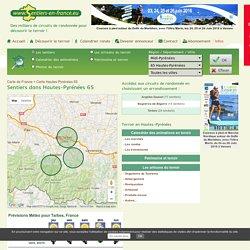 Sentiers Midi-Pyrénées Hautes-Pyrénées 65 Argelès-Gazost Bagnères-de-Bigorre Tarbes randonnées pédestres tous les départements régions de France tracé virtuel des chemins parcours circuit avec Google earth