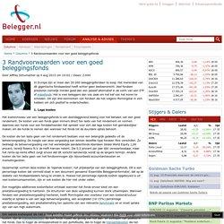 3 Randvoorwaarden voor een goed beleggingsfonds