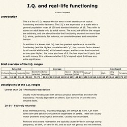 IQ ranges and real-life functioning