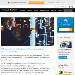 SAP Ranked No. 1 ERP Solution – What It Means for Us and Our Customers