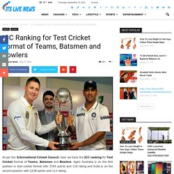 ICC Ranking for Test Cricket Format of Teams, Batsmen and Bowlers - Its Live News