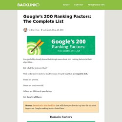 Google Ranking Factors: The Complete List