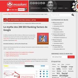 SEO 200 Ranking factors Google : Mythe